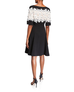 Crepe Dress with Floral Lace Bodice - 2