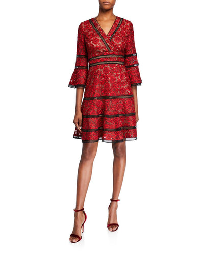 Surplice Neckline Bell-Sleeve Lace Dress