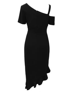 Asymmetric Dress with Floral Detail black 1