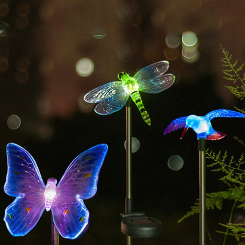 Colour-Changing LED Garden Solar Lights - Butterfly, Dragonfly and Bird Designs