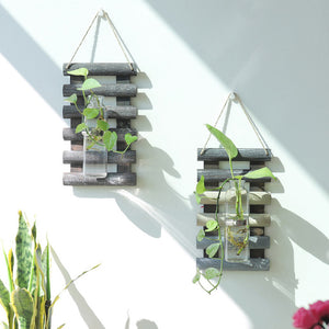 Wall Hanging Wooden Glass Propagation Vase