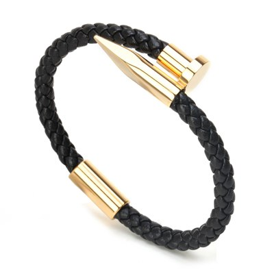 Mens Fasion Leather & Alloy Nail Bracelet