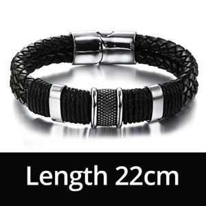 Handcrafted Genuine Leather Weaved Double Layer Men's Bracelet