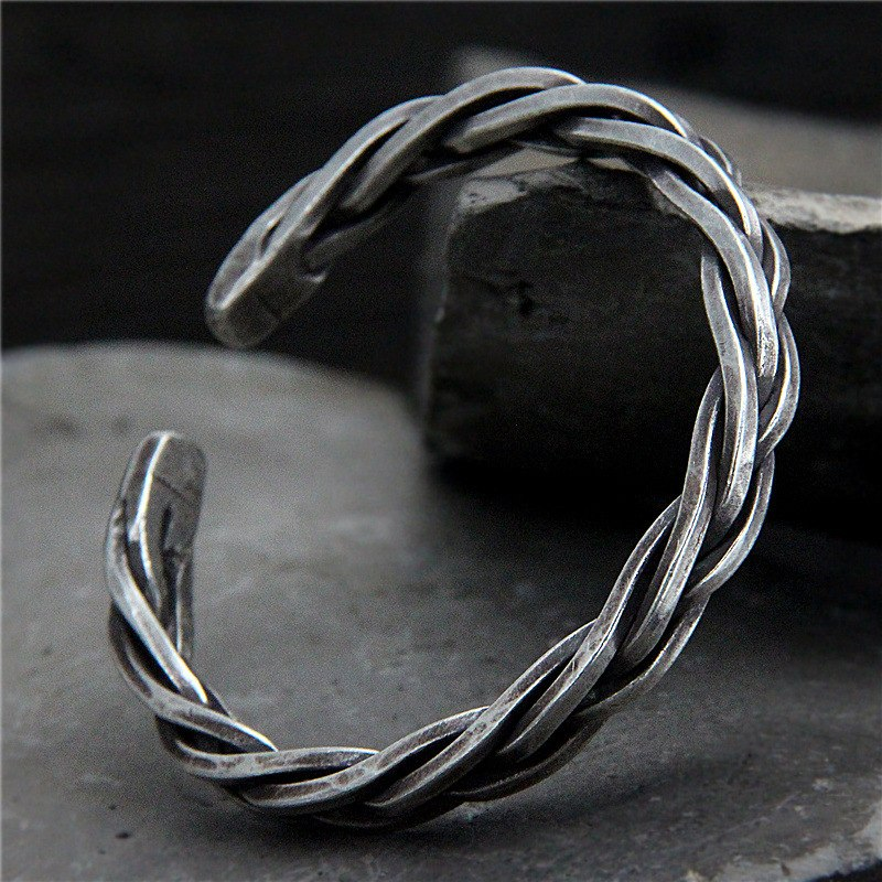 Individually Handcrafted Anniversary Silver Bracelet Cuff For Men