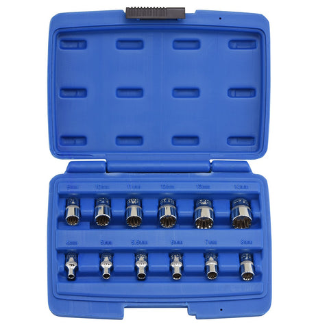 "3/8"" Drive Socket Wrench Tool Set Kit for Removing Rounded Damaged Bolts Nuts - tool"