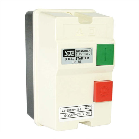 Single 1-Phase, 220-240-Volt, 3-HP Magnetic Starter Control Switch - tool