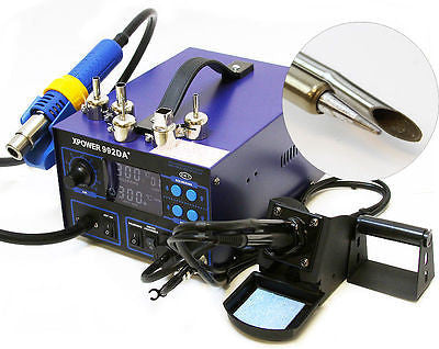 Electronic Table Top Soldering Rework Station Hot Air Blow Solder Iron Gun Unit - JABETC - 1