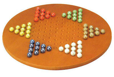 "15"" Jumbo Marble Chinese Checkers Round Traditional Board Game - JABETC"