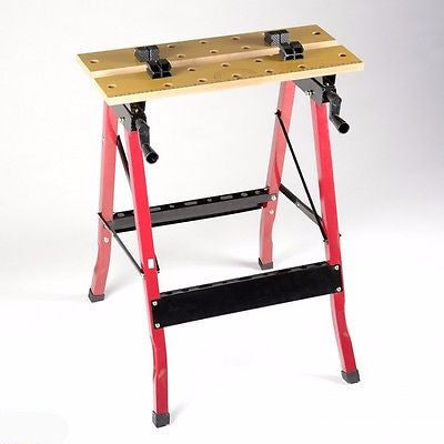Portable Fold Up Folding Workbench Work Vise Bench Clamp Table Saw Horse Vice - tool