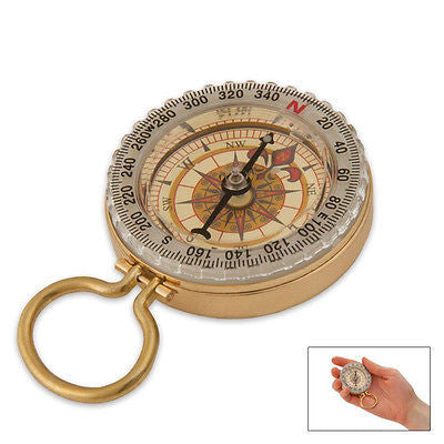 Classic Hand Antique Old Style Brass Ship Rose Pocket Keychain Compass Steampunk - JABETC - 1