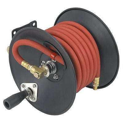 30 Foot Wind Up Hand Crank Air Hose Reel for Air Compressor Wall Mount - tool