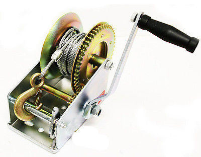 Hand Operated Powered Crank Manual Gear Wire Cable Winch for Boat ATV Trailer - JABETC