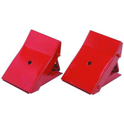 Pair of Folding Metal Steel Tire Wheel Chock Stops for Trailer Car Vehicle Stop - tool