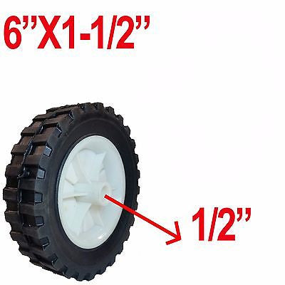 "Replacement 6"" x 1-1/2"" Plastic Rim Wheel Tire for Lawnmower or Cart - JABETC - 1"