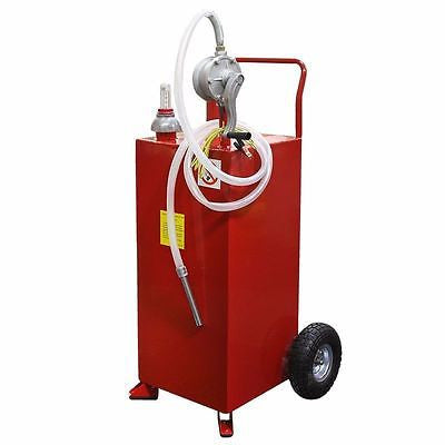 Rolling Portable 30 Gallon Fuel Gas Storage Transferring Transfer Tank Hand Pump - JABETC
