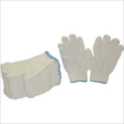 Dozen White Knit Poly Cotton String Working Work Garden Gardening Gloves - tool