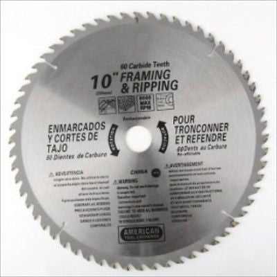 "10"" 60 Tooth Carbide Tip Wood Tipped Circular Round Power Saw Blade - tool"