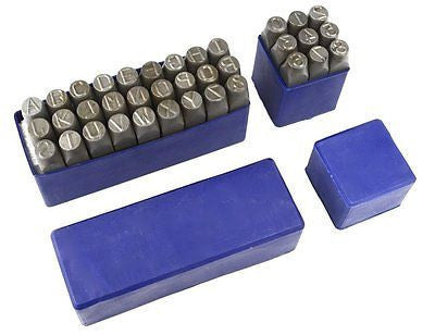 "1/2"" Large Metal Letter and Number Punch Stamp Set - tool"