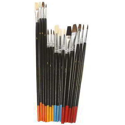 15 Piece Natural Hair Art Artist Paint Brush Brushing Tool Set Wooden Handle Wood - JABETC - 1