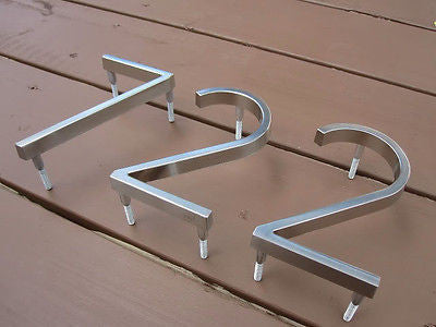 Brushed Steel Mid Century Modern Style Address Numbers - JABETC - 1