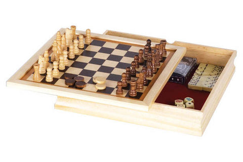 Wood Backgammon Chess Combination Game Set - tool