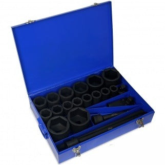 "21 PC 1"" Inch Drive Deep Impact Metric Socket Tool Set - tool"