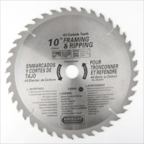 "10"" 40 Tooth 40T Carbide Tip Wood Tipped Circular Round Power Saw Blade - JABETC"