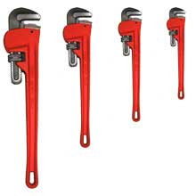 4 Piece Pipe Wrench Plumber's Tool Set - tool