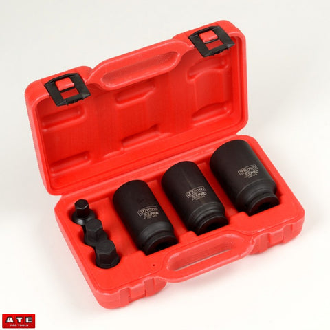 "3pc 1/2"" Drive Metric Shaft Hub Nut Impact Socket Set - tool"