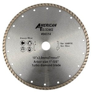 "10"" Turbo Wet Dry Diamond Tile Saw Tilesaw Blade Masonry Tile Concrete Cutting - JABETC"