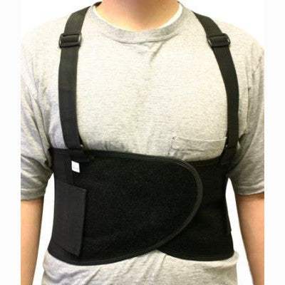 Back Brace Support Weight Lifter Belt W/ Suspenders XL - tool