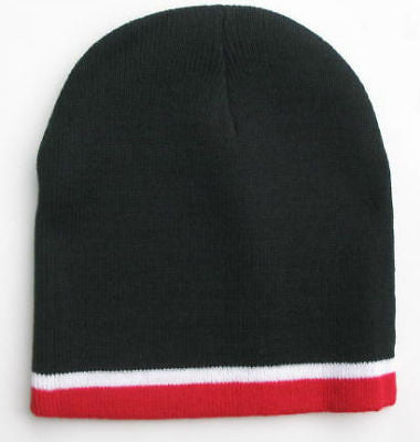 Men's Knitted Black with Red Stripe Beanie Hat Cap - tool