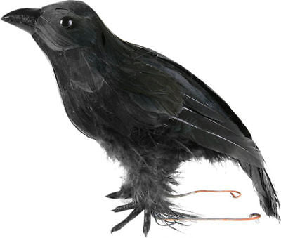 Fake Stuffed Halloween Black Crow Bird Prop Raven Artificial Faux Decoration - tool