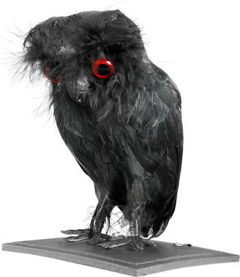 Fake Black Owl Bird Scary Halloween Prop Decoration - tool
