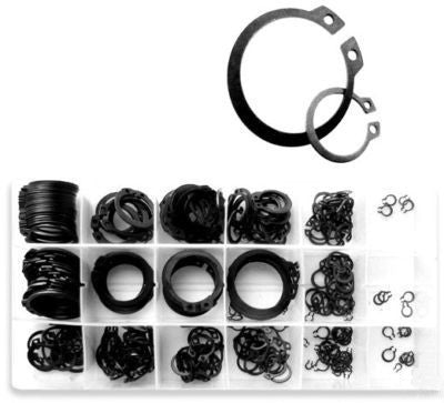 300 Piece Steel Snap Retainer Ring Fastener Assortment Kit - tool