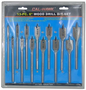 13 PC Flat Wood Spade Drill Bit Set - tool