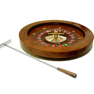 "16"" Deluxe Quality Solid Real Wooden Roulette Wheel Game Roulete Spinning - JABETC"