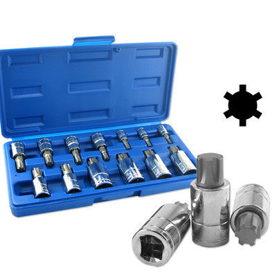 13 Piece Ribe Bit Driver Set for Socket Tool Set Kit M4 to M16 Polydrive Poly - tool
