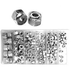 Box of 150 Piece Nylon Locknut Assortment Kit SAE Metric Assorted Sizes - JABETC