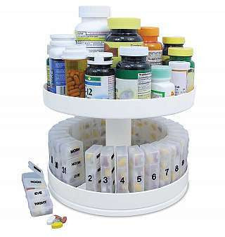 Revolving Monthly Spinning Medicine Vitamin Pill Box Holder Organizer Dispenser - tool