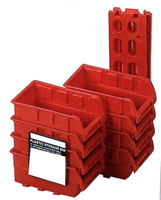 8 Stackable Plastic Small Parts Bin Storage Organizer Racking W/ Mounting Rails - tool