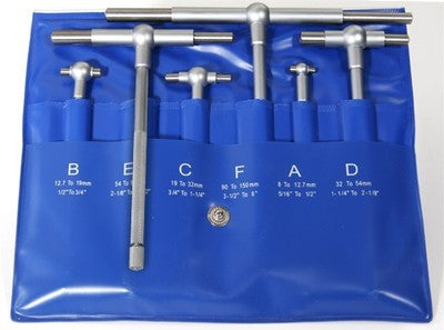 6 Piece Machinist T Bore Telescoping Gage Gauge Tool Set - tool