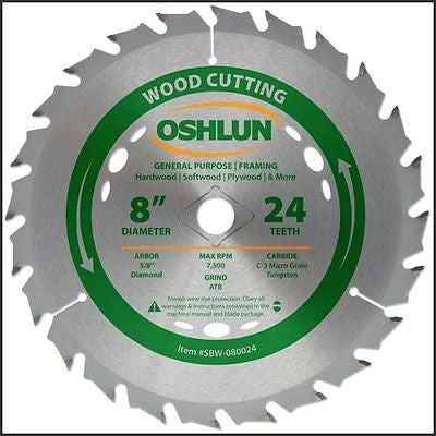 "8"" 24T Carbide Tip Wood Cutting Saw Blade Table Power - tool"