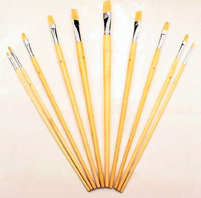 10 Piece Large Artist and Craft Art Paint Acrylic Oil Brush Set Painting Brushes - tool