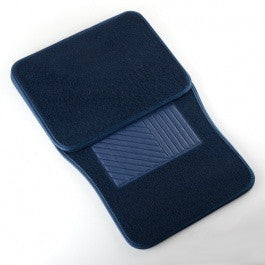 4 Piece Piece Universal Blue Carpeted Floor Mats for Car Vehicle Carpet Rubber Set - JABETC