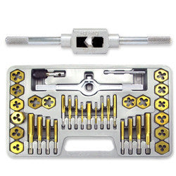 40 Piece Titanium Standard SAE Size Steel Tap & and Die Tool Set Kit - tool