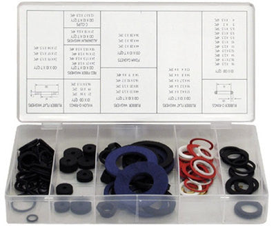 125 Piece Rubber O-Ring Hose Gasket Flat Washer Auto Gromet Assortment Set Kit - tool