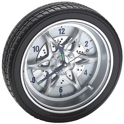 Car Wheel Wall Mounted Shop Clock - tool