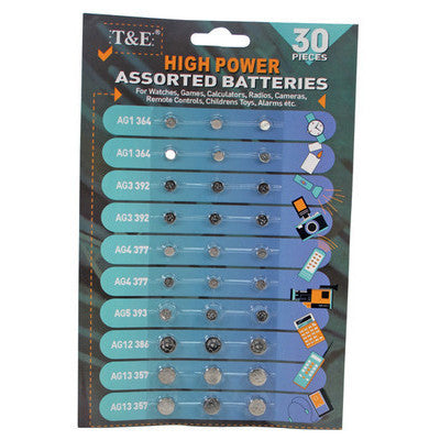 Assortment of Button Cell Batteries AG1 AG3 AG4 AG5 AG12 AG13 Assorted Pack - tool