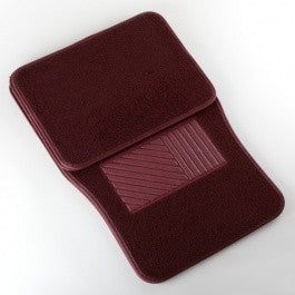 4 Piece Piece Universal Burgundy Red Carpet Carpeted Floor Mats for Car Vehicle - JABETC